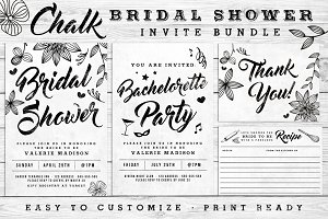 Chalk Bridal Shower Invite Bundle