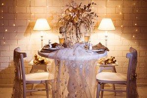 Evening restaurant interior design.