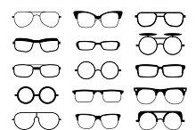 Eyeglasses different shape icons