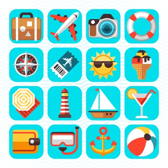Summer Beach Travel Icons