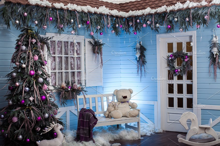 winter exterior of a country house with christmas decorations in the florida style holidays