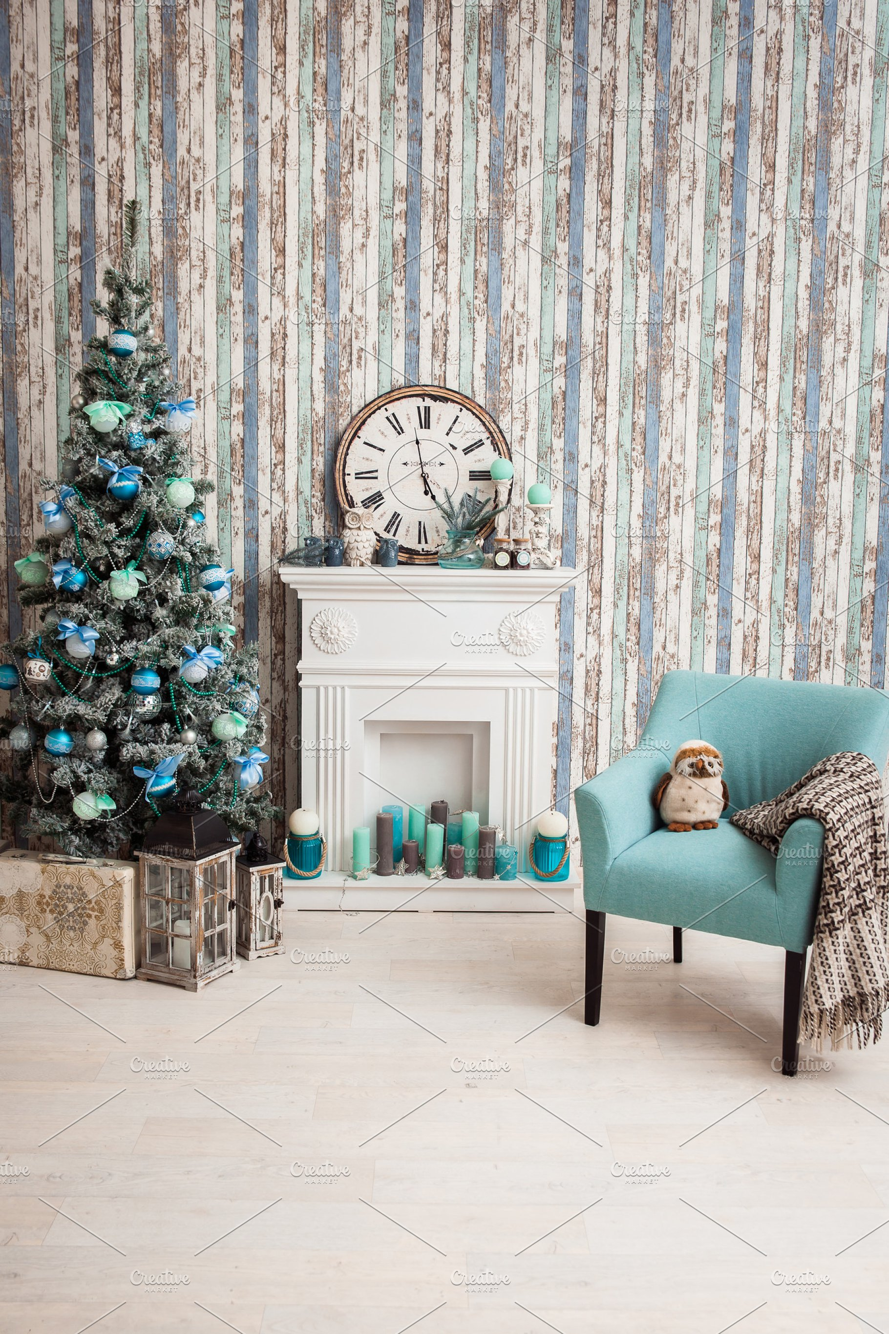 Christmas Tree In Living Room With Fireplace Armchair And Wallpaper