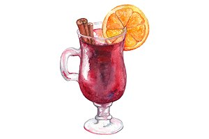 Watercolor alcohol cocktail isolated