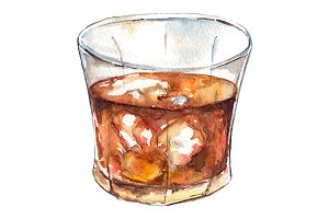 Watercolor rum whiskey alcohol
