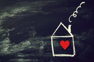 Home or Love Concept with House