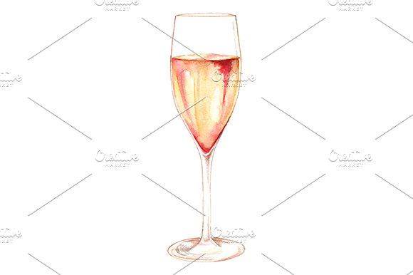 Watercolor Champagne Wine Glass
