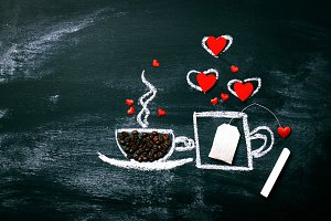 Love Concept with Coffee and Tea