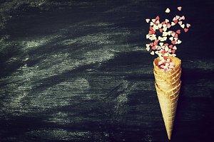 Love Concept with Ice Cream Cone