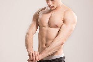 shirtless man bodybuilder posing