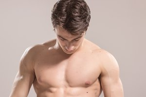 bodybuilder young adult man chest