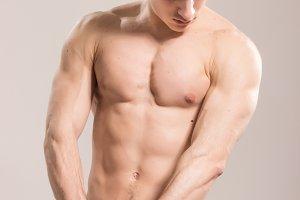muscular strong upper body man