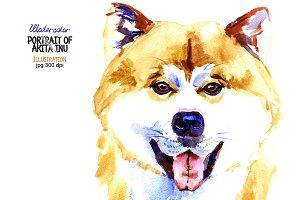 Watercolor Akita inu