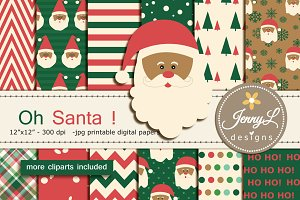 Santa Christmas Digital Papers