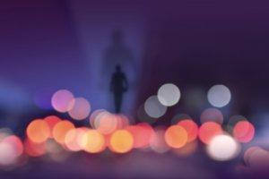 Man & Abstract Colorful Lighting