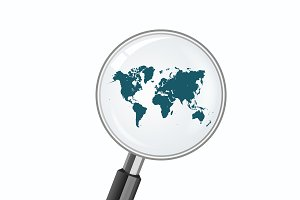 world map and magnify glass