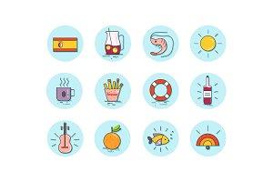 Spanish food icon set