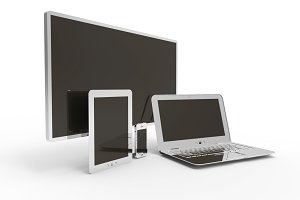 Smartphones and tablets with laptop