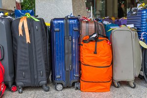 large suitcases and travel bag.
