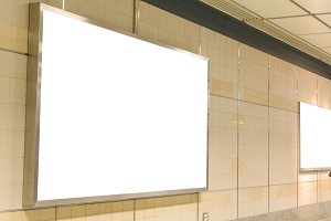 Blank billboard in modern hall