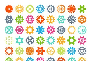 Round element gears icons