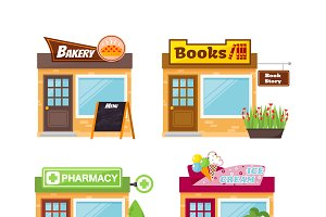 Store shop front vector set