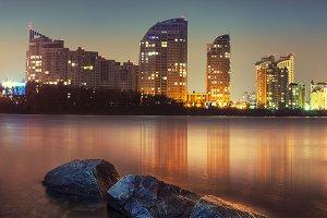 sunset over Kiev city skyline