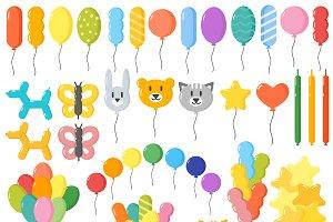 Color glossy balloons mega set