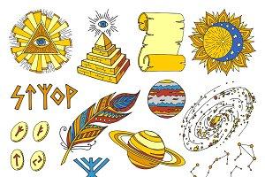 Vector mystic and magic symbols