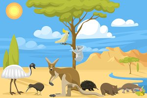 Cartoon Australia continent animals