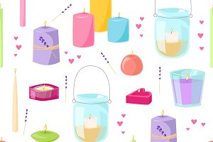 Wax spa candles vector pattern