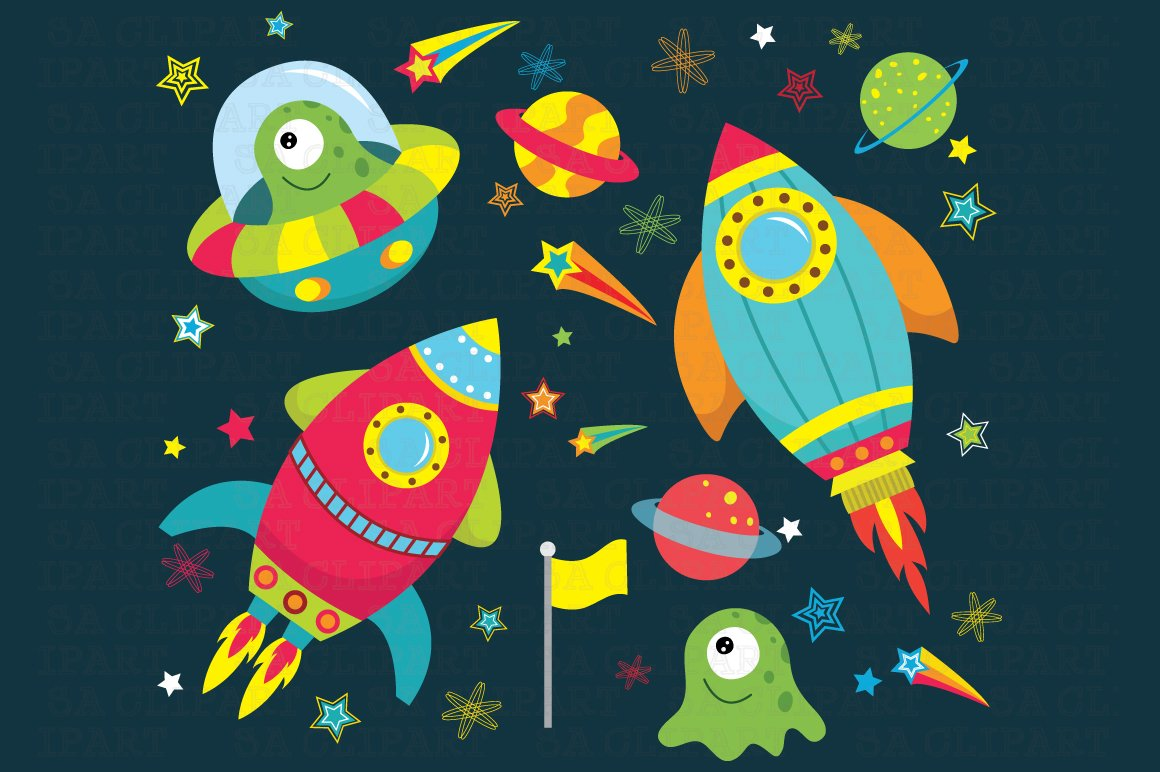 Outer space clipart illustrations creative market for Outer painting design