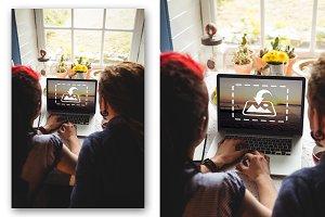 Hipster using laptop