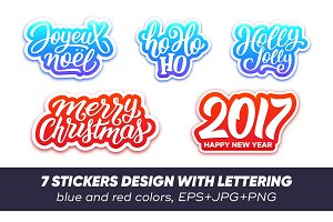 Lettering on stickers for Christmas