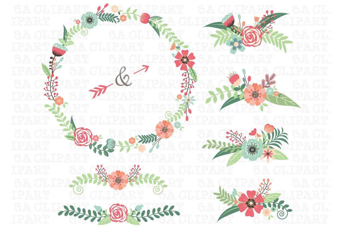 Wedding Floral Clipart Illustrations Creative Market