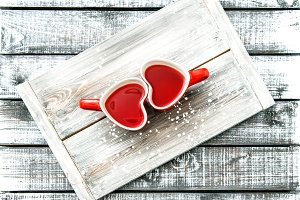 Heart shaped cups red tea