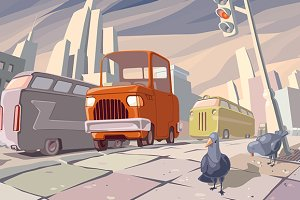 Orange Cartoon Retro Car