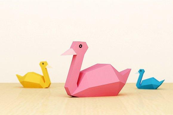 Diy Swan 3d Papercraft Templates Creative Market