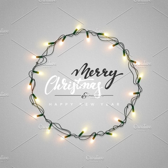 Christmas Lights. Wreath for Xmas - Christmas Lights. Wreath For Xmas ~ Graphics ~ Creative Market