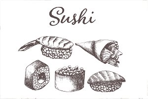 Hand drawn vector sushi