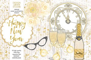 Watercolor Happy New Year design
