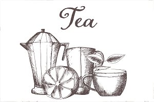 Hand drawn vector tea set