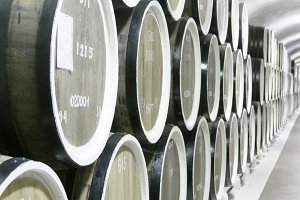 Old oak barrels in a row at the cellars of the winery. Beautiful vintage background. Close up