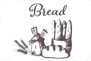 Hand drawn vector bread set