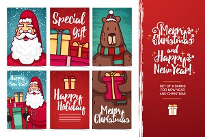 Set Christmas and New Year card