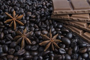 Fragrant spices, coffee and chocolat