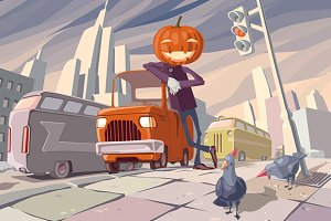 Jack O' Lantern and His Orange Car