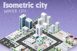Winter landscape city