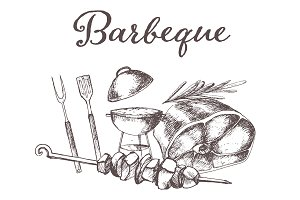 Hand drawn barbecue elements