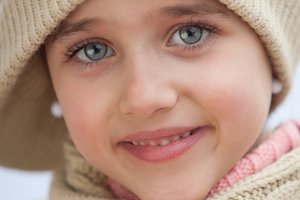 Pretty child girl with wool hat