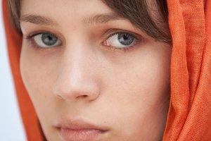 Pretty woman wearing a head scarf